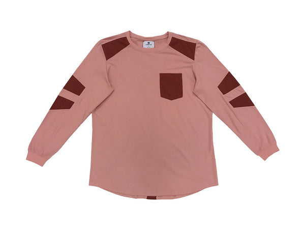 FAUX SUEDE DETAIL LONG SLEEVE SHIRT - DUSTY PINK - Standard Issue NYC