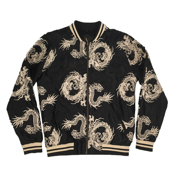 Unisex Black/Gold All-Over Dragon Souvenir Jacket