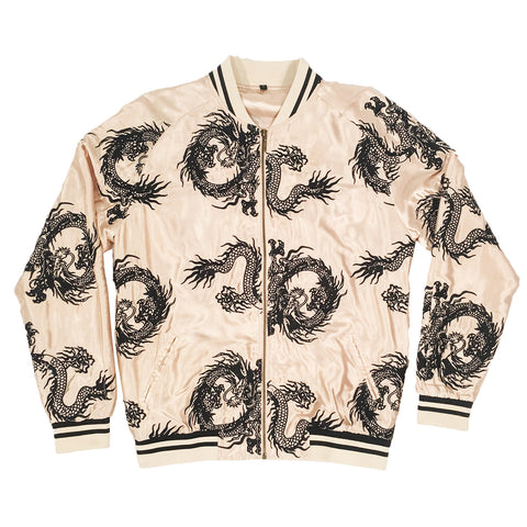 Unisex Gold/Black All-Over Dragon Souvenir Jacket