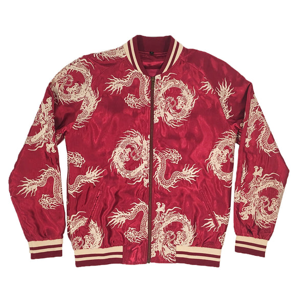 Unisex Burgundy/Gold All-Over Dragon Souvenir Jacket