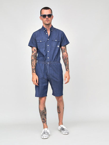 CHAMBRAY JUMPER SHORTS MED BLUE - Standard Issue NYC