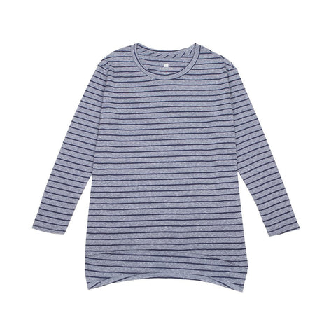 Standard Issue Oversize Women's Tee 3/4 Sleeve - Blue Stripes