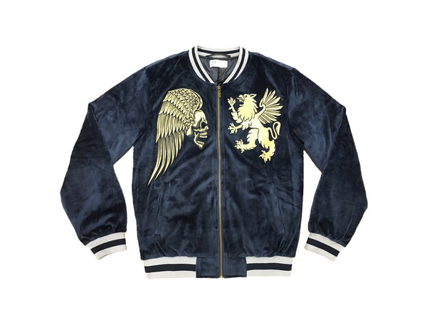 VELOUR SOUVENIR JACKET NAVY - Standard Issue NYC