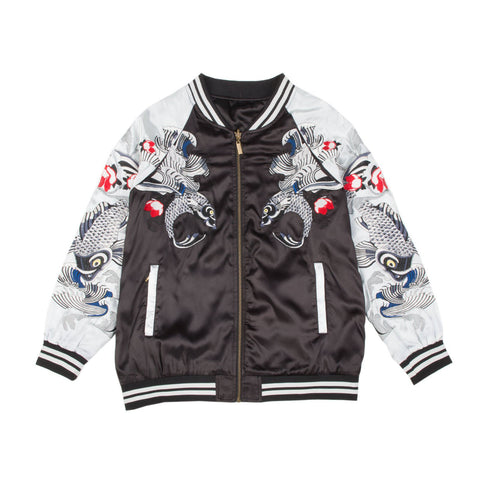 Women's Black/Silver Reversible Koi Fish Souvenir Jacket