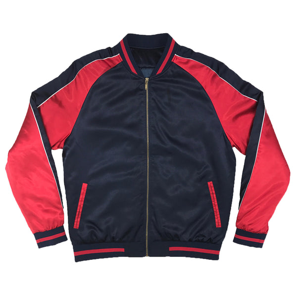 Solid Color Block Jacket - Navy/Red