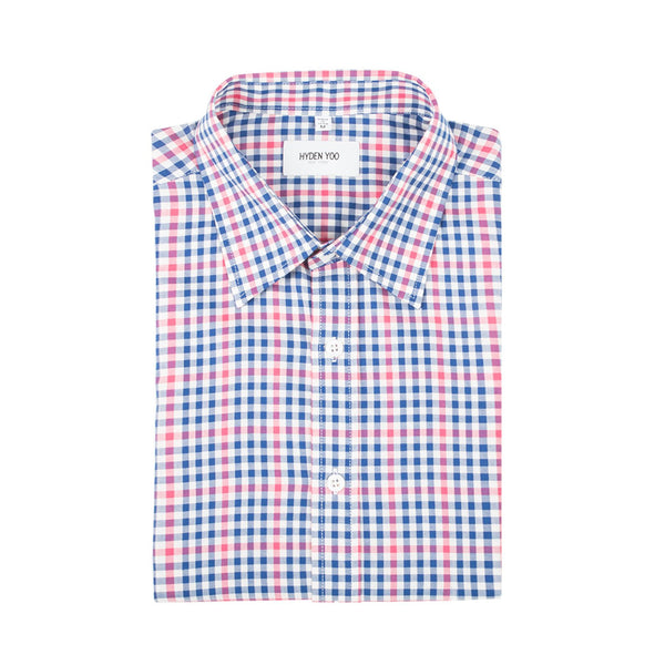 Raymond Slim Shirt - Navy Pink Gingham