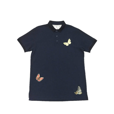 Butterfly Embroidered Polo - Navy