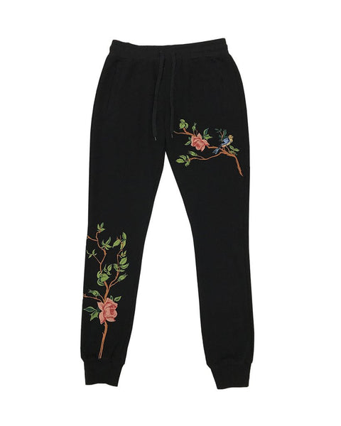Vine Embroidered Jogger - Black