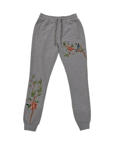 Vine Embroidered Jogger - Heather Grey