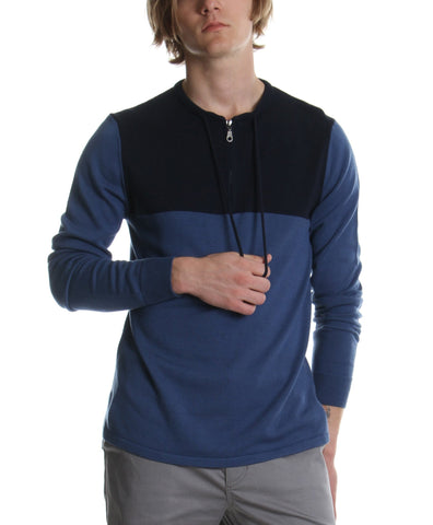 DRAWCORD COLLAR SWEATER BLUE - Standard Issue NYC