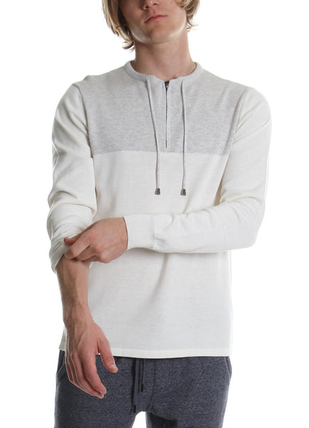 DRAWCORD COLLAR SWEATER WHITE - Standard Issue NYC