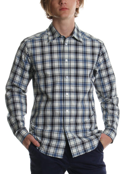 CLASSIC SHIRT WHITE BLUE PLAID - Standard Issue NYC