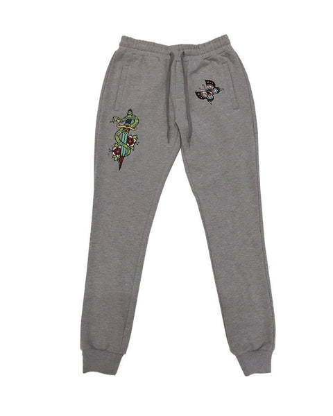 Snake Embroidered Jogger - Heather Grey