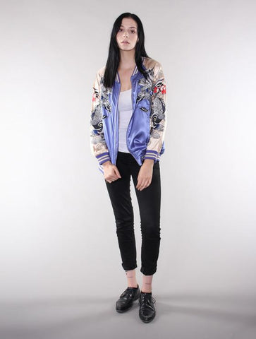 Women's Blue/Gold Reversible Koi Fish Souvenir Jacket - Standard Issue NYC