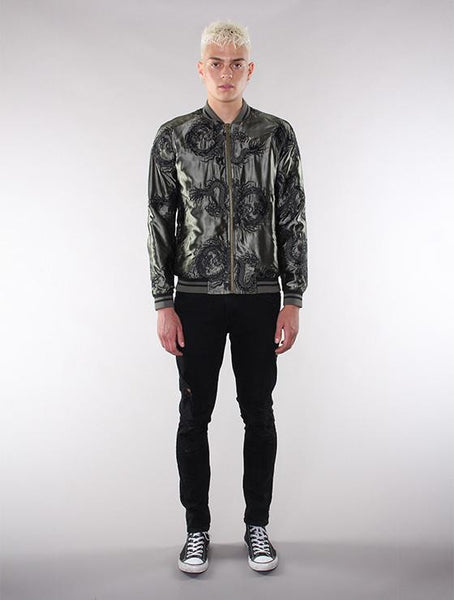 Unisex Olive/Black All-Over Dragon Souvenir Jacket - Standard Issue NYC