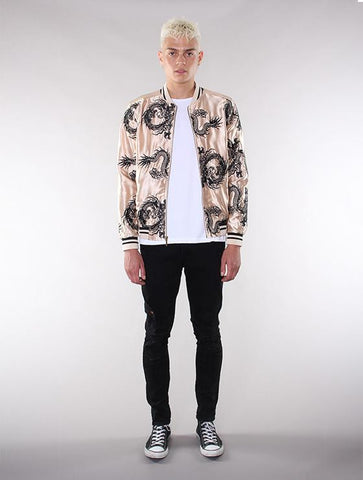 Unisex Gold/Black All-Over Dragon Souvenir Jacket - Standard Issue NYC