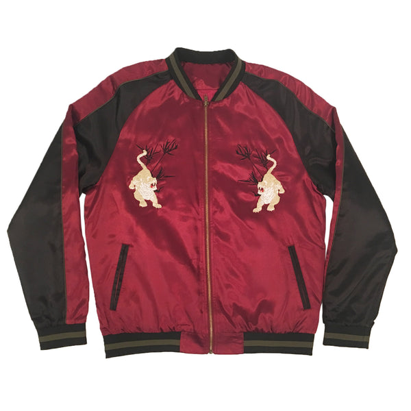 Unisex Burgundy/Black Tiger Souvenir Jacket