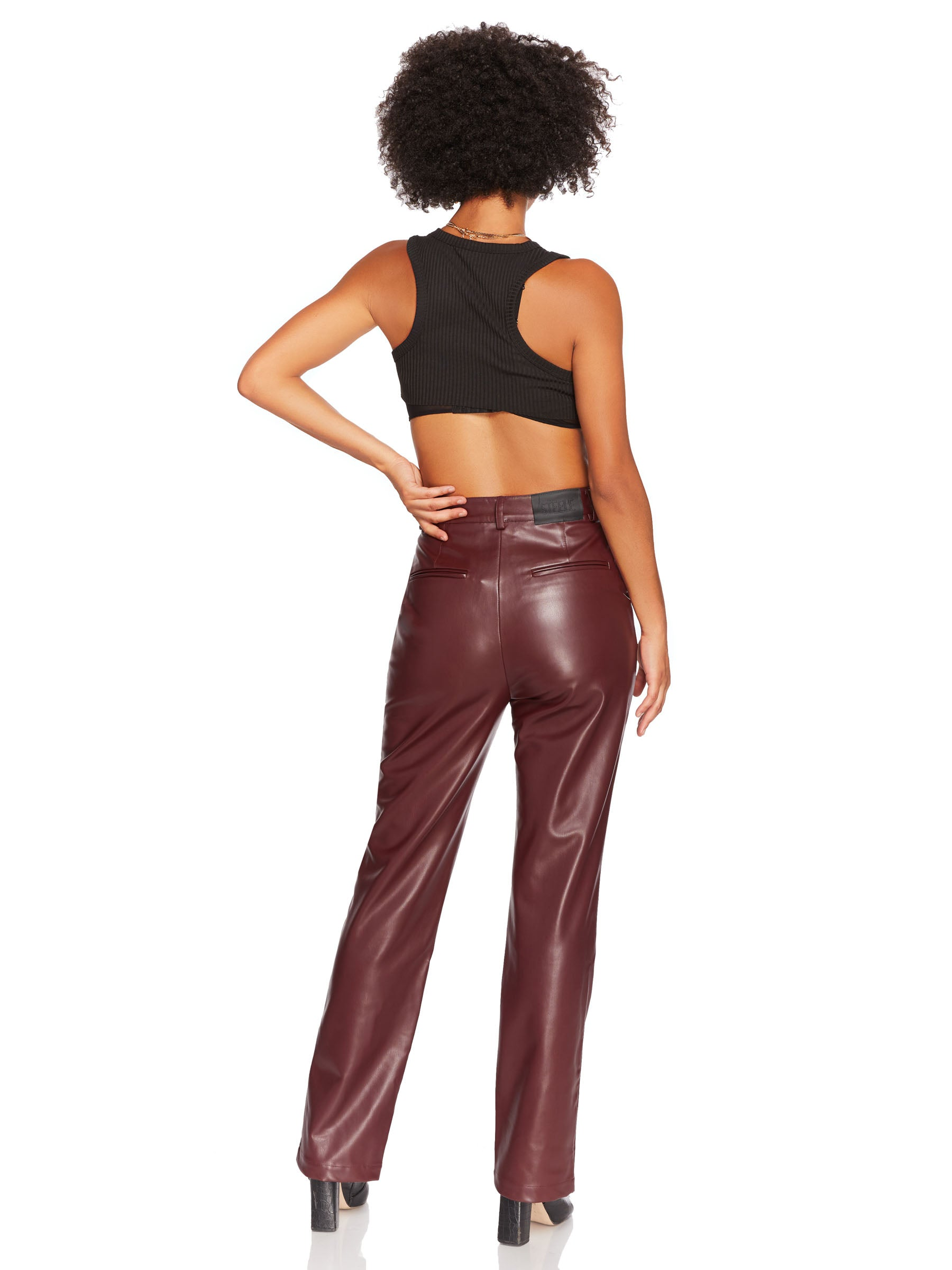 Vegan Leather Straight Leg Pant