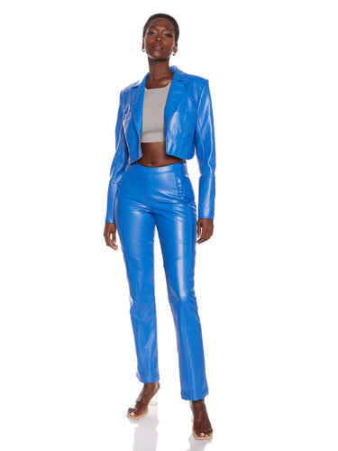 Cobalt Vegan Leather Blazer