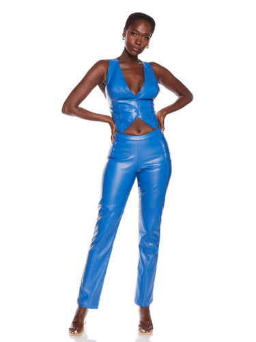 Cobalt Vegan Leather Vest