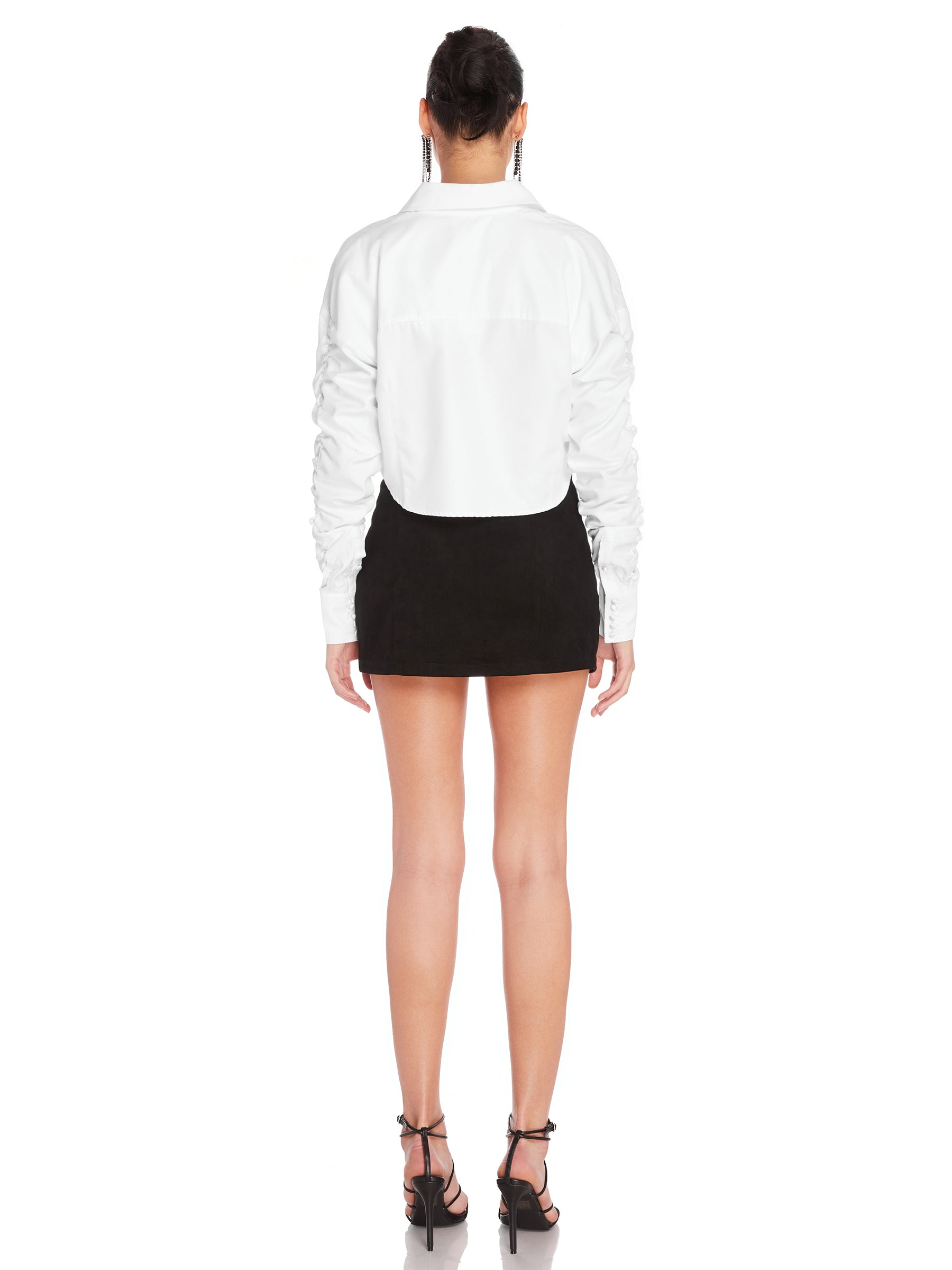 Darted Boyfriend Cropped Shirt