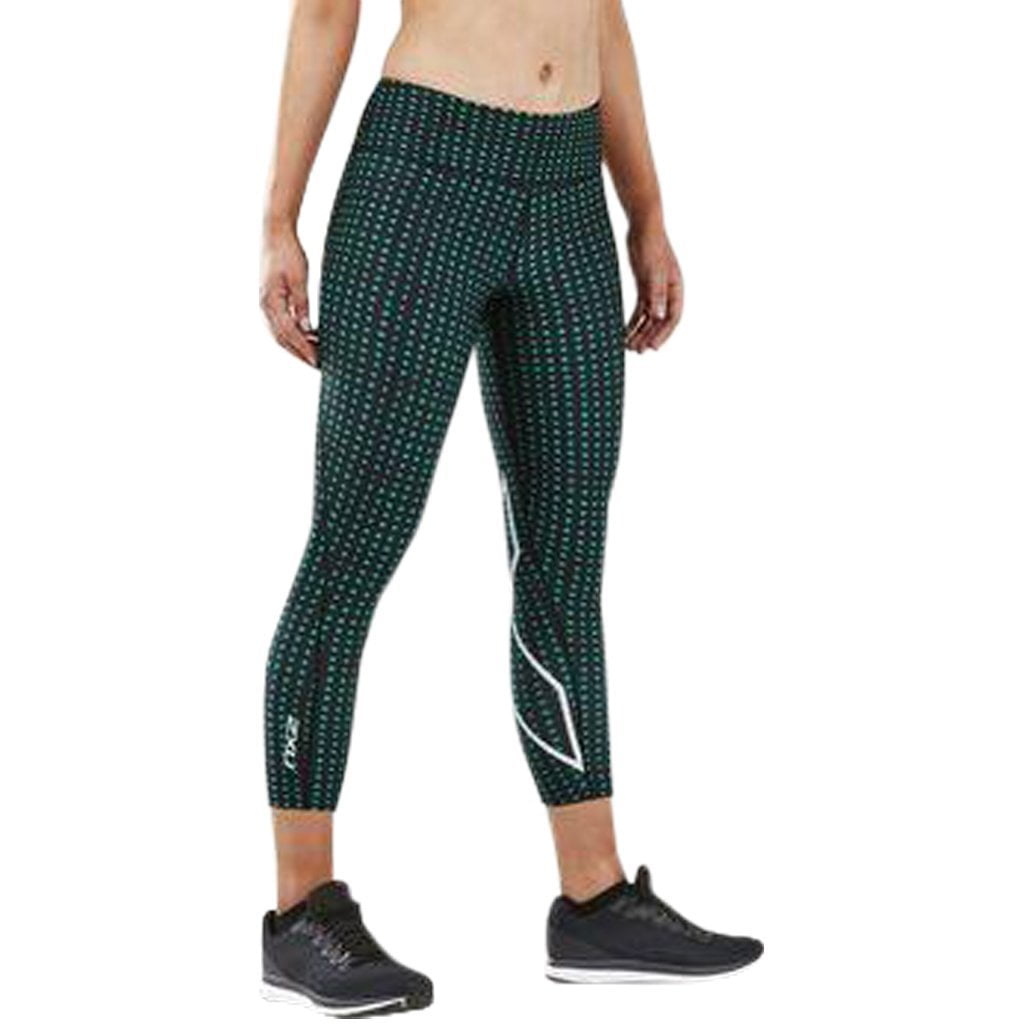 2XU Print Mid-Rise Comp 7/8 Tights Golf Green Urban Grid / White