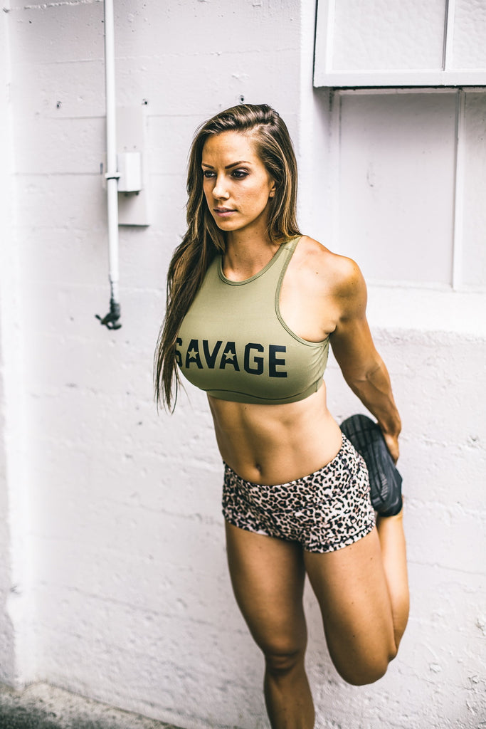 Savage High Neck Army Green Sports Bra