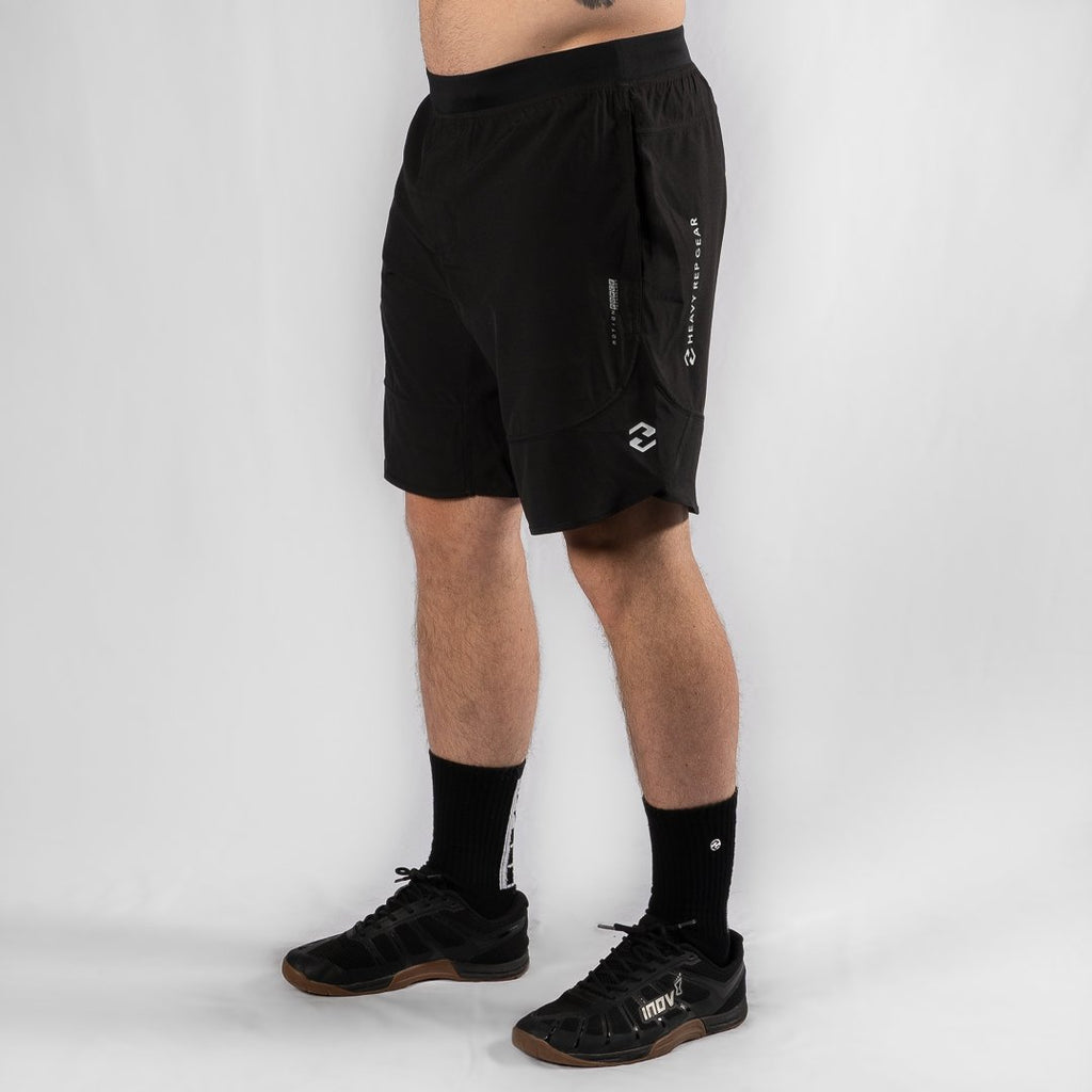 "Heavy Rep Gear MotionForce 3.0 Black / White 10"" Training Shorts"