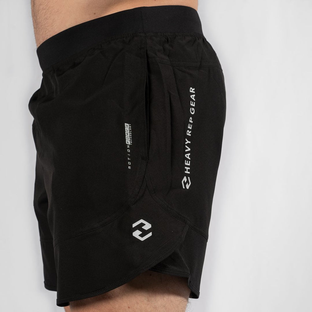 "Heavy Rep Gear MotionForce 3.0 Black / White 8"" Training Shorts"