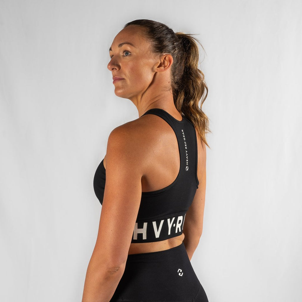 Heavy Rep Gear High Riser HVY REP Black / White Sports Bra