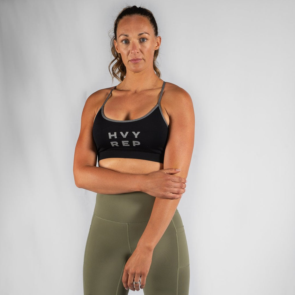 Heavy Rep Gear Free Flow HVY REP Black / Grey Sports Bra
