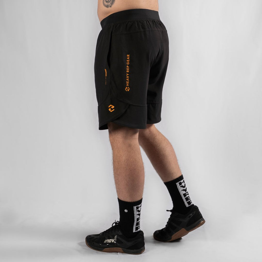 "Heavy Rep Gear MotionForce 3.0 Black / Mustard 10"" Training Shorts"