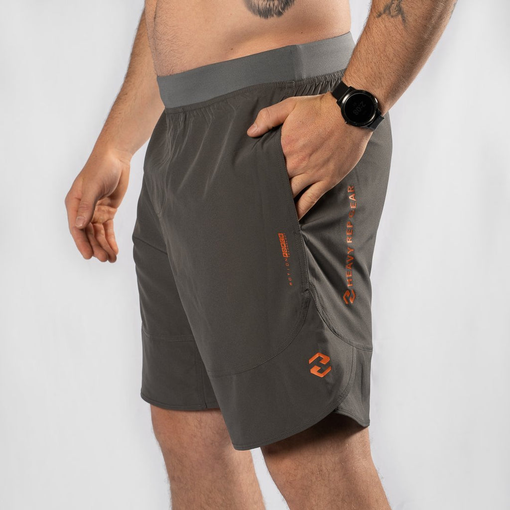 "Heavy Rep Gear MotionForce 3.0 Charcoal / Orange 10"" Training Shorts"