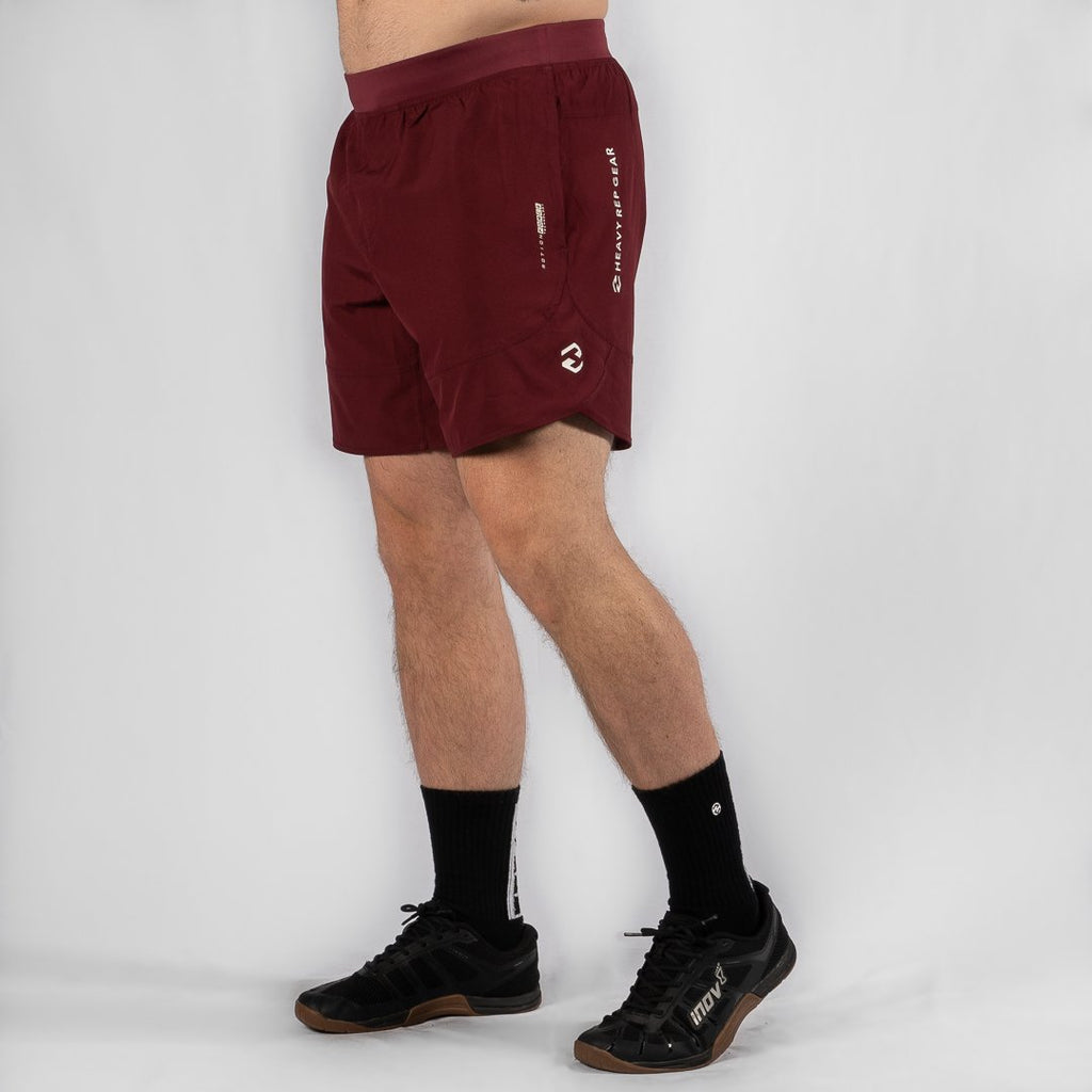 "Heavy Rep Gear MotionForce 3.0 Maroon / White 8"" Training Shorts"