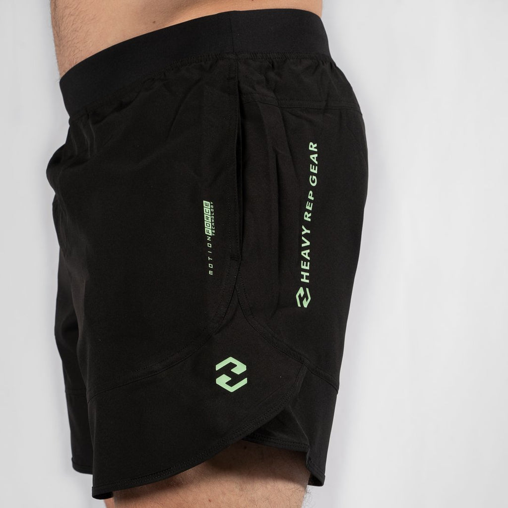 "Heavy Rep Gear MotionForce 3.0 Black / Neo Mint 8"" Training Shorts"