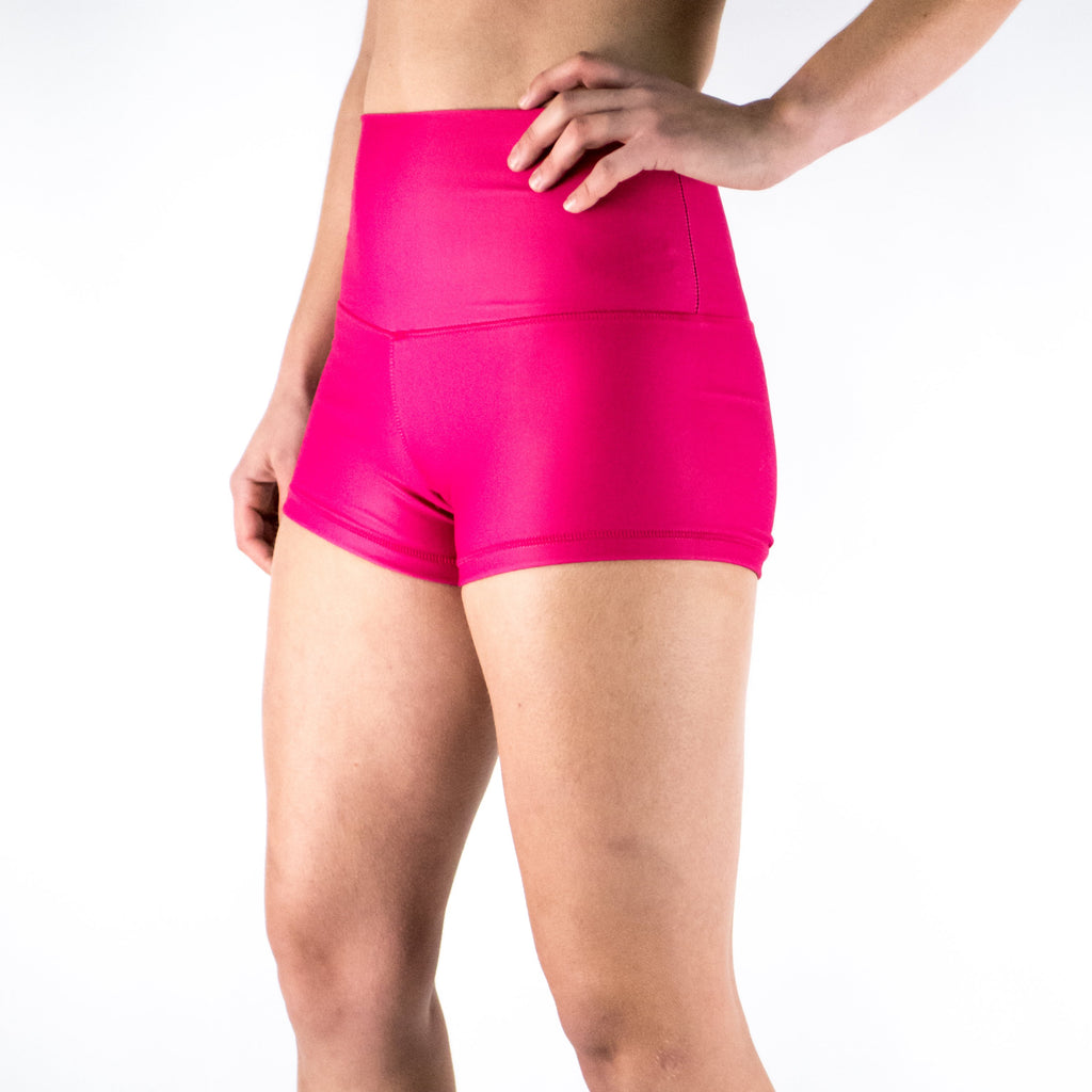 Halo Hot Pink High Rise Roll Down Booty Shorts