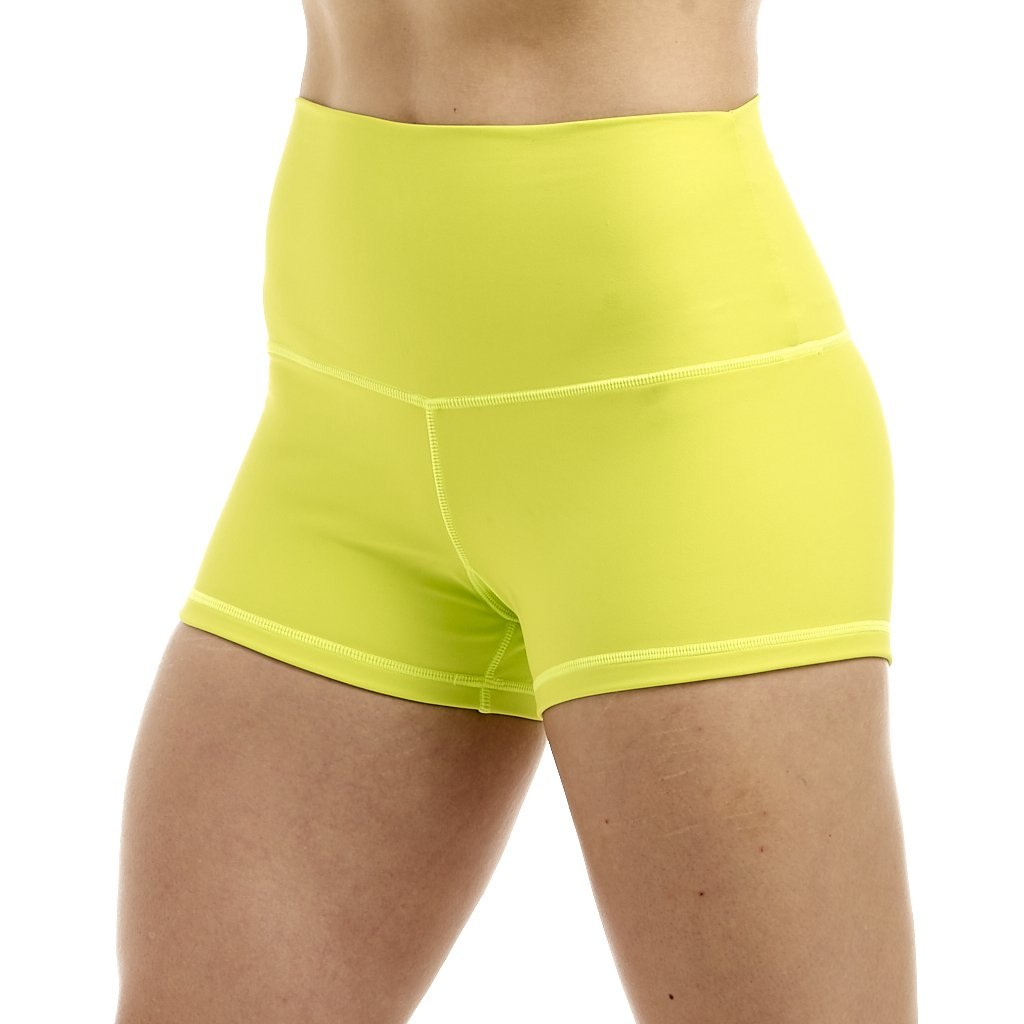 Halo Neon Yellow High Rise Roll Down Booty Shorts
