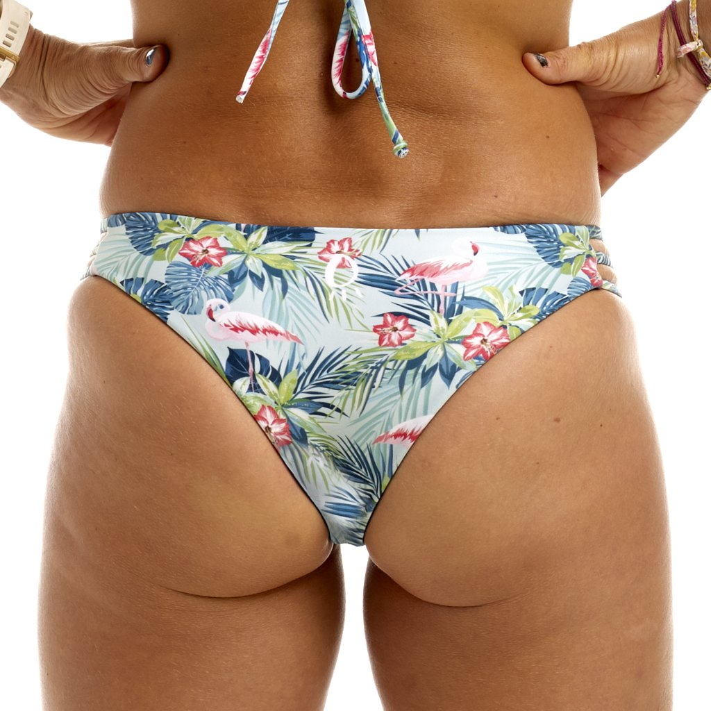Halo Flamingo Palm / Navy Reversable Cheeky Bottoms
