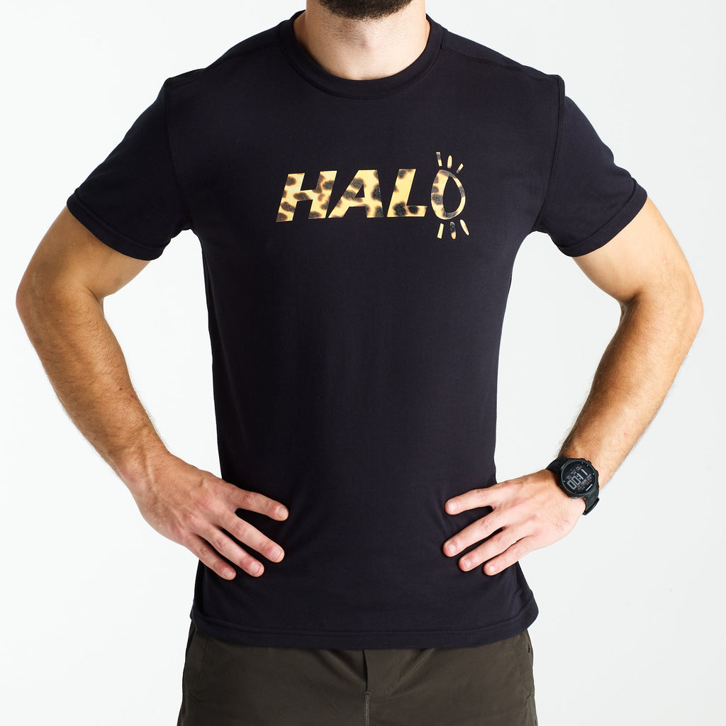 Halo Leopard T-Shirt in Black