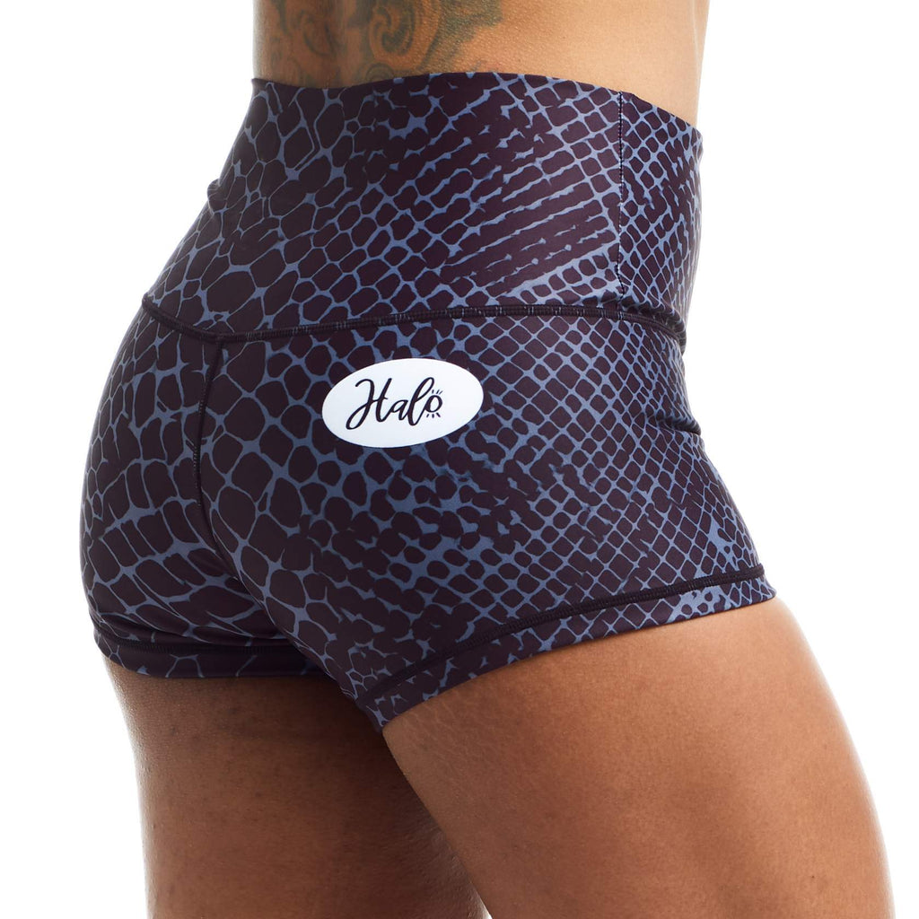 Halo Black Snake Rise Roll Down Booty Shorts