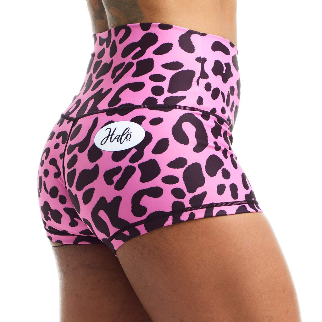 Halo Pink Leopard Rise Roll Down Booty Shorts