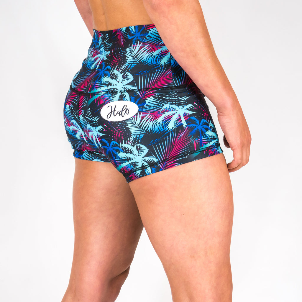 Halo Fluorescent Palm High Rise Roll Down Booty Shorts
