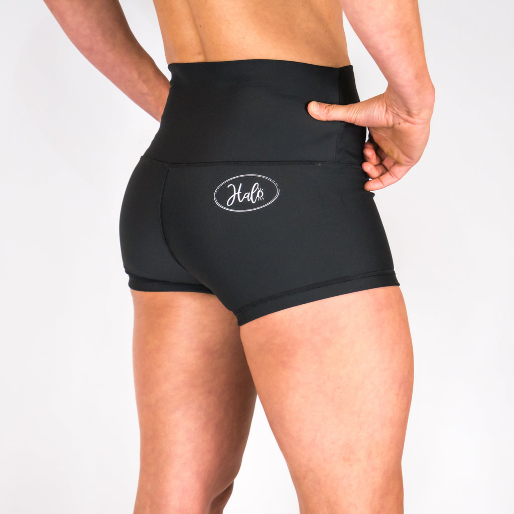 Halo Jet Black High Rise Roll Down Booty Shorts