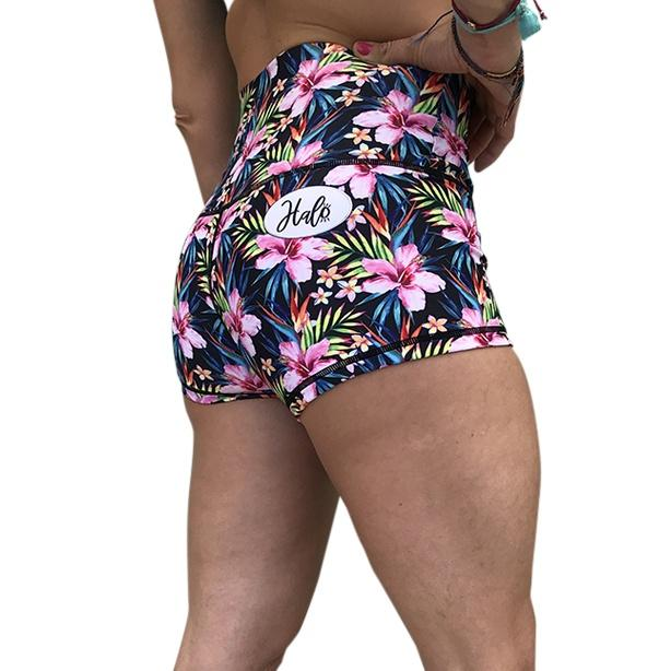Halo Hibiscus Heaven High Rise Roll Down Booty Shorts