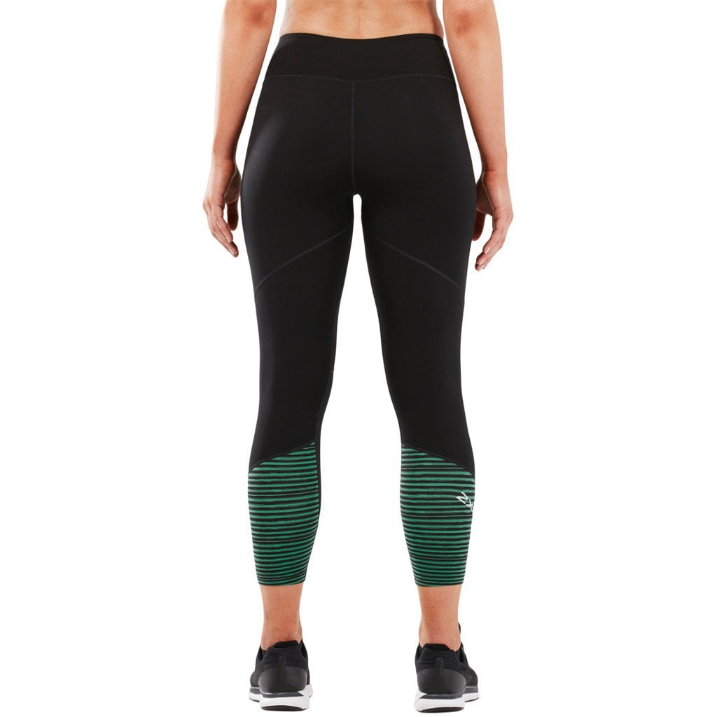 2XU Fitness Mid Colour lBlock 7/8 Tight Black / Golf Green Stripe