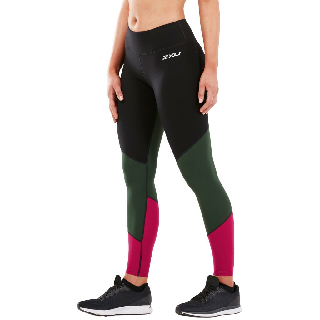 2XU Fitness Mid Colour Block Tight Black / Mountain View Virtual Pink