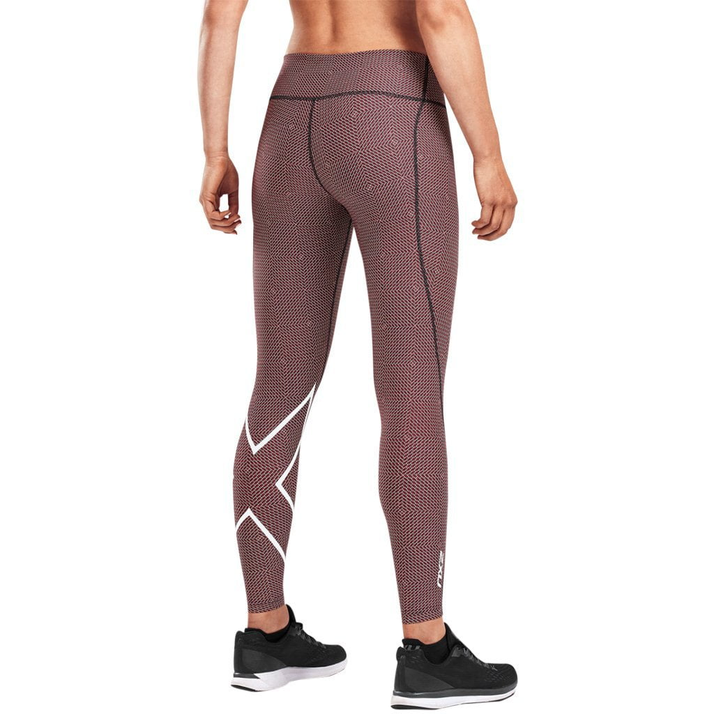 2XU Print Mid-Rise Comp Tights Brick Pink / White