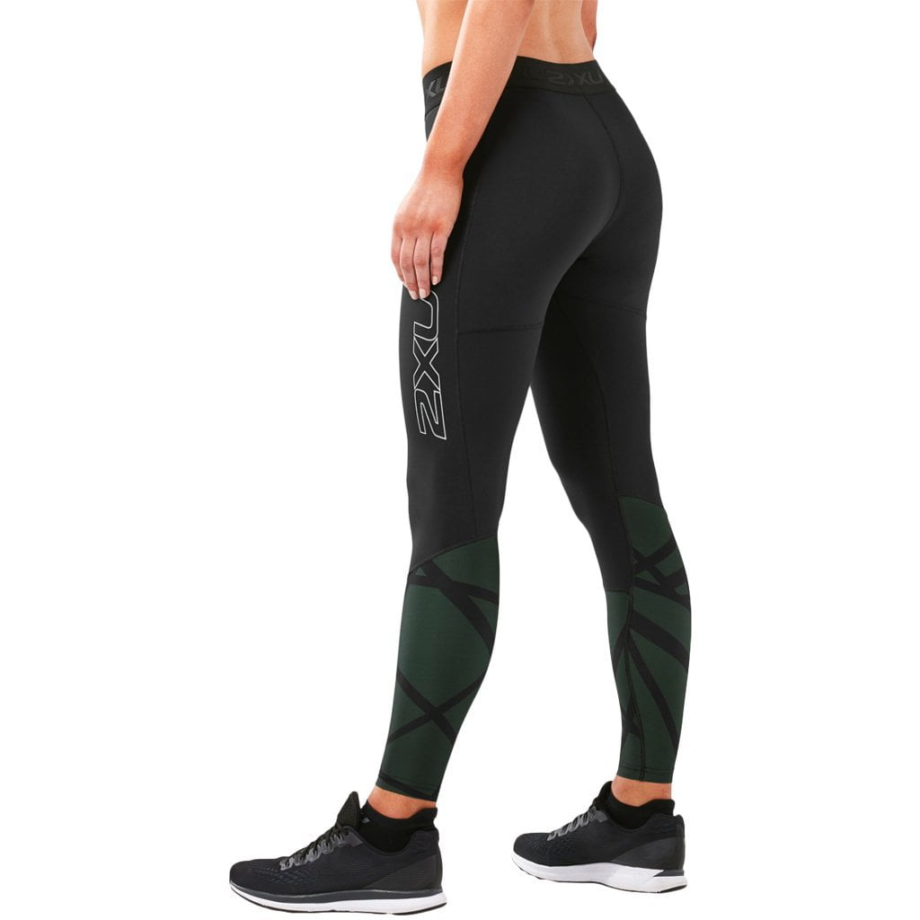 2XU Accelerate Compression Tights with Storage Black / Paint Strokes Mountain View
