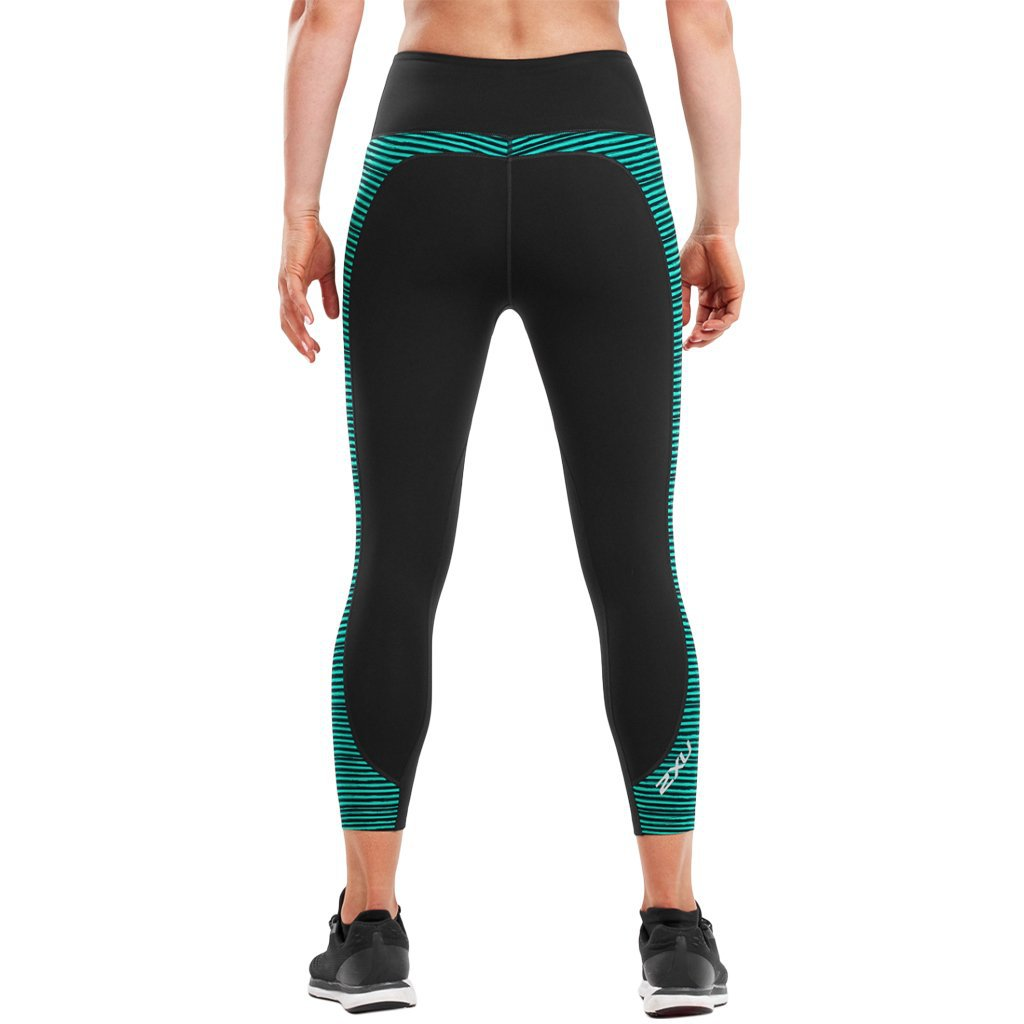 2XU Fitness Hi-Rise 7/8 Tight Print Black / Golf Green Stripe