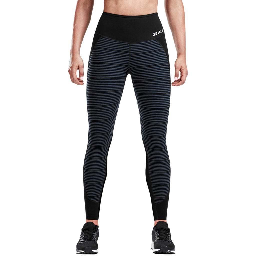 2XU Fitness Hi-Rise Compression Tight Print Black / Outer Space Stripe